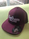 HAT - Basebll Hat with Poof Embroidery - Maroon with white Earlham College Imprint L/XL
