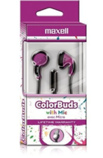 COLOR BUDS W/MIC PURPLE