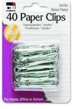 PAPER CLIPS, JUMBO 40CT