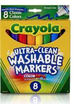 CRAYOLA CLASSIC COLORS BROAD MARKERS - 8 PACK