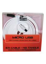 Micro USB Charge & Sync, Flat 6ft Cable