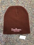 BEANIE - Short Knit Beanie - Maroon with White Earlham College Embroidery