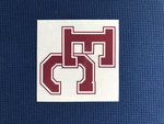 "DECAL - 4"" x 4"" EC logo in maroon with white border around text on clear vinyl"